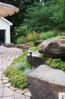 Pennsylvania Fieldstone Boulder accents in hillside